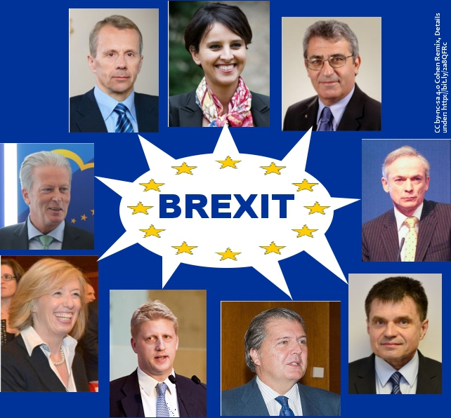 "Pictures of some European Education Ministers with speech bubble ""Brexit"". Picture: N. Cohen CC by-nc-sa 4.0 (Remix) Creative Commons Licence: Attribution + Noncommercial + ShareAlike"