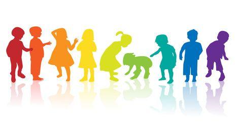 Graphische Darstellung einer Silhouette von Kindern in Regenbogenfarben