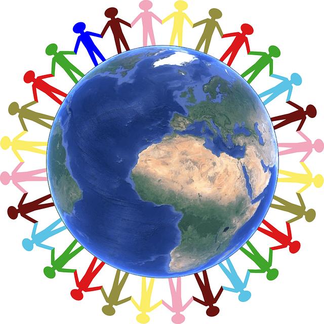 Bild einer Menschenkette um die Erde