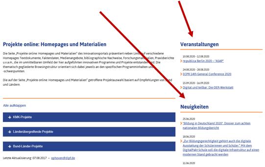 Seitenaufbau Projekte Online