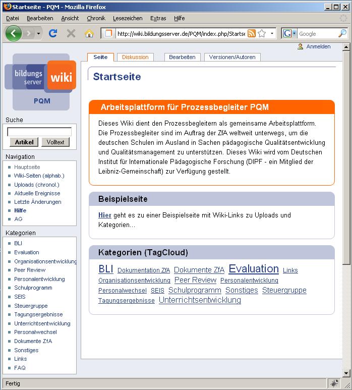 Wiki-Plattform für die Prozessbegleiter an Deutschen Auslandsschulen